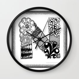 Zentangle N Monogram Alphabet Initials Wall Clock