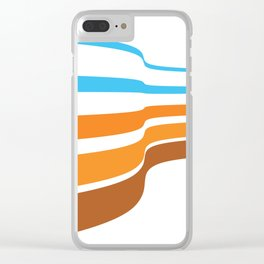 BLUE, ORANGE  AND BROWN LINES  ON A WHITE BACKGROUND Abstract Art Clear iPhone Case