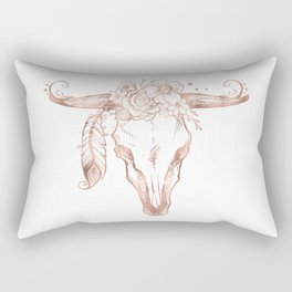 Rose Gold Bull Skull with Pink Feather Flowers Rectangular Pillow