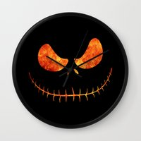 jack skellington Wall Clocks featuring Jack Skellington Halloween Smile Flame by alexa