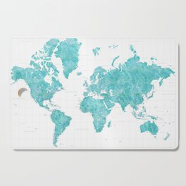 Highly detailed watercolor world map in aquamarine Cutting Board