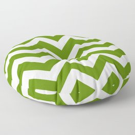 Avocado - green color - Zigzag Chevron Pattern Floor Pillow