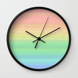 Abstract Pastel Rainbow II Pretty gradient stripes Wall Clock