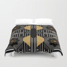 Modern Gold Black White Geometrical Multi Pattern Duvet Cover
