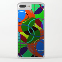 Caged Geometry - Abstract, metallic, geometric, rainbow coloured circles Clear iPhone Case