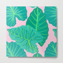 Giant Elephant Ear Leaves in Light Pink Metal Print