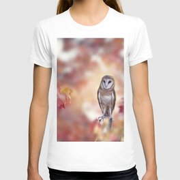 Barn owl perching in the autumn forest T-shirt