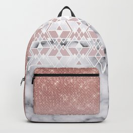 Modern Rose Gold White Marble Geometric Ombre Backpack