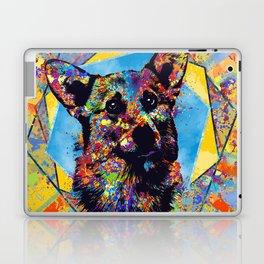 Colorful Corgi Portrait Abstract Mixed Media Laptop & iPad Skin