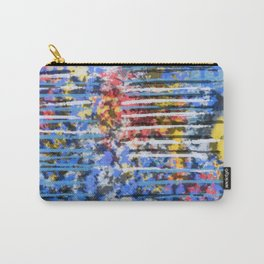 Blue and Yellow Abstract with Pink Accents Carry-All Pouch