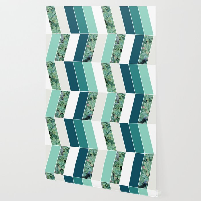 Teal Herringbone #society6 #teal #succulent Wallpaper