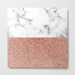 dip-dyed marble – rose gold (faux) glitter Metal Print