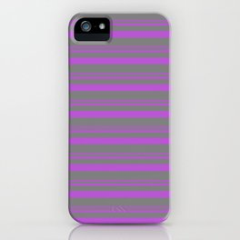 Orchid and Grey Colored Lined Pattern iPhone Case