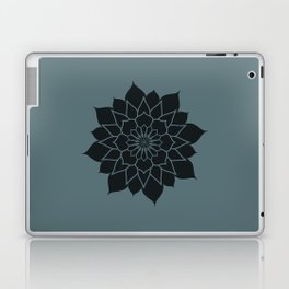 Mandala flower, dark grey geometrical floral pattern Laptop & iPad Skin