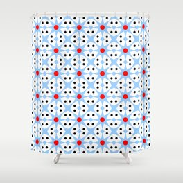 Stars 41- blue red and black Shower Curtain