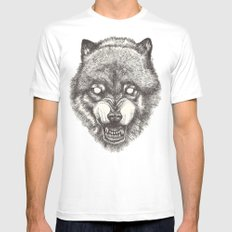 Day wolf Mens Fitted Tee MEDIUM White