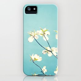 Aqua Dogwood Flower Photography, Teal Turquoise Floral Branches iPhone Case