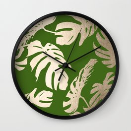 Palm Leaves White Gold Sands on Jungle Green Wall Clock