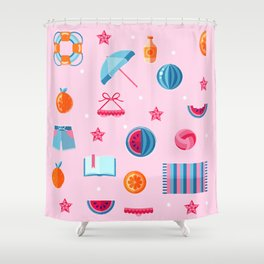 Summer beach essentials Shower Curtain