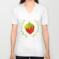 strawberry V-neck T-shirts featuring Strawberry by Strawberringo