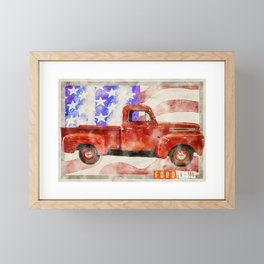 American Red Truck Graphic Framed Mini Art Print