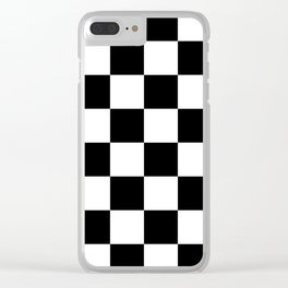 Large Checkered - White and Black Clear iPhone Case