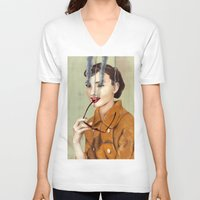 hepburn V-neck T-shirts featuring Audrey Hepburn by FAMOUS WHEN DEAD