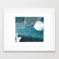 baloon Framed Art Prints featuring moon baloon by stefania coniglio
