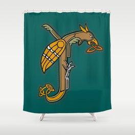 Celtic Medieval Griffin Letter J Shower Curtain