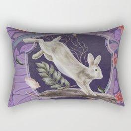 Forest Rabbit Floral Art Nouveau Design Rectangular Pillow