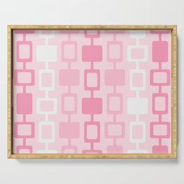 Mid Century Modern Square Columns Pink Serving Tray