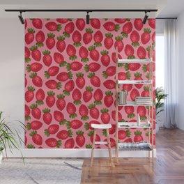 Strawberry Print - Pink BG Wall Mural