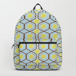 abstract geometry retro style floral pattern with yellow flowers on a light blue background Backpack