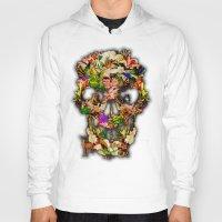 animal skull Hoodies featuring Floral Flower animal skull kingdom by KomarWork