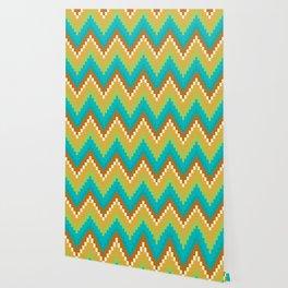 Native Aztec Brown Wavy Pattern Wallpaper