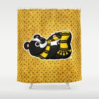 hufflepuff Shower Curtains featuring Mommy's Future Hufflepuff by mikaelak