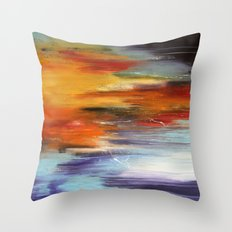 Abstract sunset over the water Throw Pillow