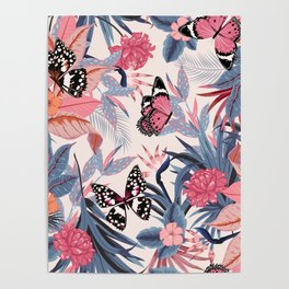 PINK BUTTERFLY PATTERN Poster