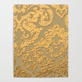 Gold Metallic Damask Print Poster