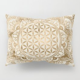 Flower of Life in Lotus - pastel golds and canvas Pillow Sham