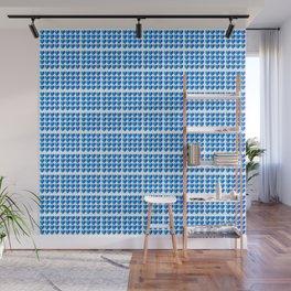 Love Hearts Grid Pattern Classic Blue Through Aqua Ombre Wall Mural