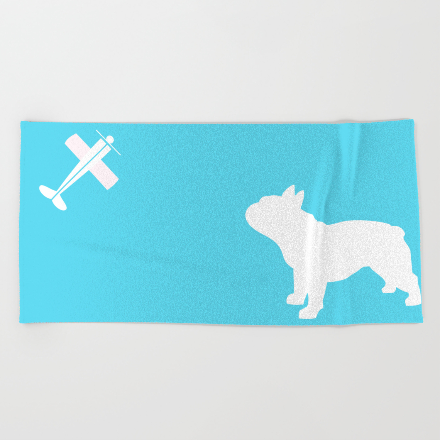 French Bull Dog Art Beach Towel By