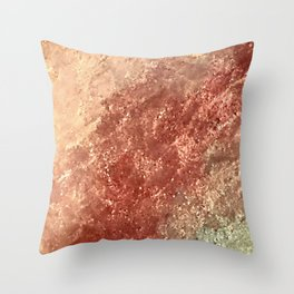 Crystallized Copper Trails Throw Pillow