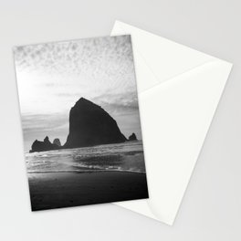 Haystack Rock in Black and White - Cannon Beach, Oregon Film Photo Stationery Cards