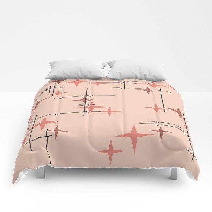 Mid Century Modern Stars Salmon Pink Comforters