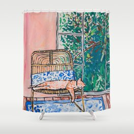 Napping Ginger Cat in Pink Jungle Garden Room Shower Curtain