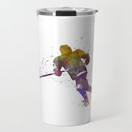Skater with stick in watercolor Travel Mug