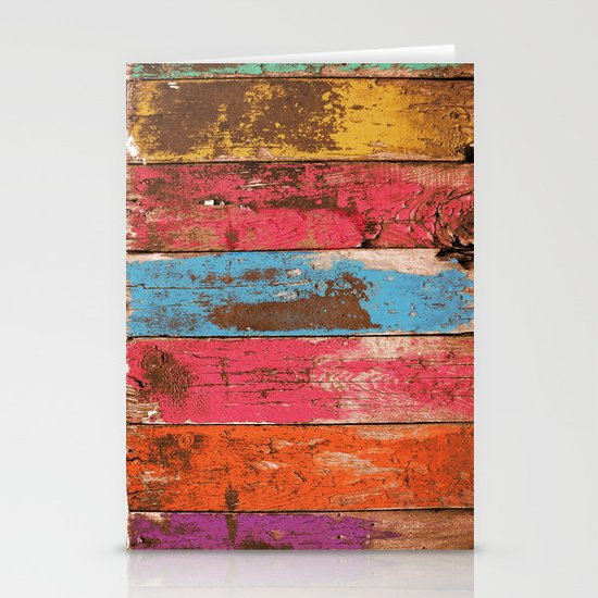 Vintage Colored Wood 2 Stationery Cards