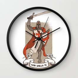 Knight Templar with Sword in Hand Wall Clock