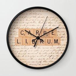 Carpe Librum [seize the book] Wall Clock